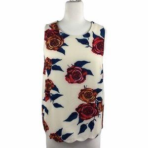 Darling Cream Red & Peach Rose Floral Tank, XS